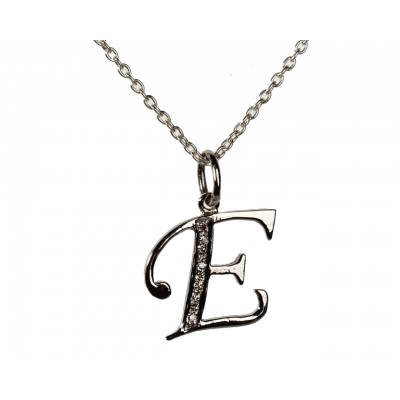 Alphabet E pendant with diamonds